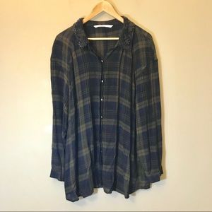 Zara Trafaluc Beaded Collar Plaid Buttondown Shirt